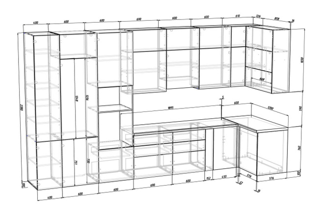 Проект корпусной мебели, кухни. Визуализация мебели 40 - kwork.ru