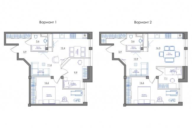 Планировка квартиры или жилого дома, перепланировка и визуализация 100 - kwork.ru