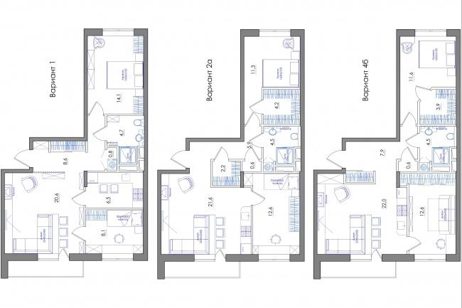 Планировка квартиры или жилого дома, перепланировка и визуализация 91 - kwork.ru