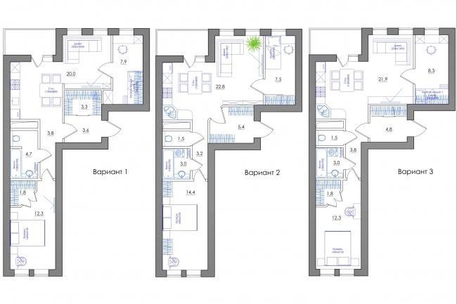 Планировка квартиры или жилого дома, перепланировка и визуализация 88 - kwork.ru