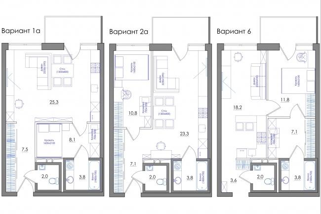Планировка квартиры или жилого дома, перепланировка и визуализация 86 - kwork.ru