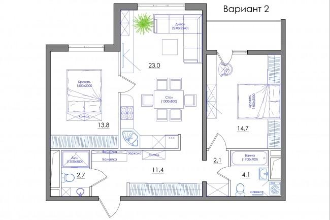 Планировка квартиры или жилого дома, перепланировка и визуализация 81 - kwork.ru