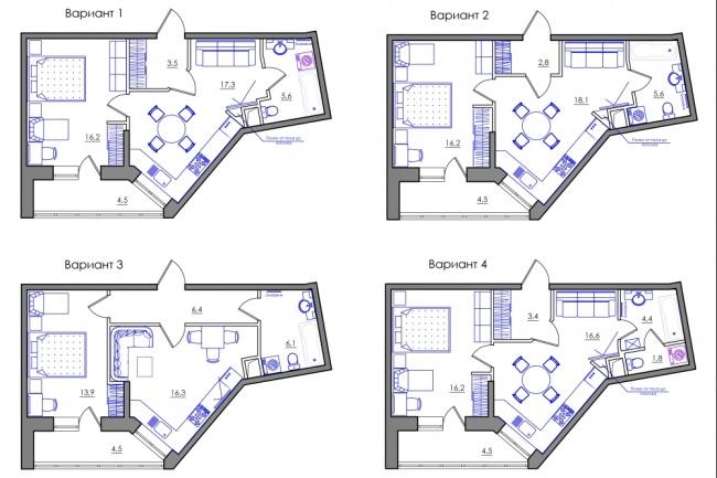 Планировка квартиры или жилого дома, перепланировка и визуализация 105 - kwork.ru