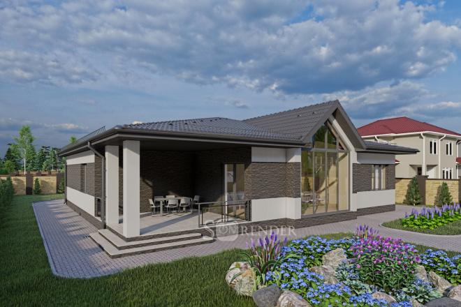 Фотореалистичная 3D визуализация экстерьера Вашего дома 49 - kwork.ru