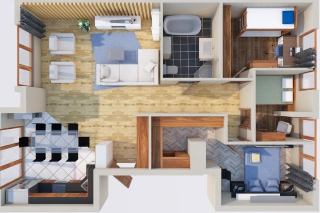 Создам планировку дома, квартиры с мебелью 6 - kwork.ru