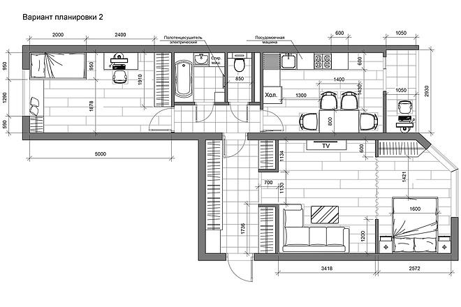 Разработка 3 вариантов планировки квартиры 23 - kwork.ru