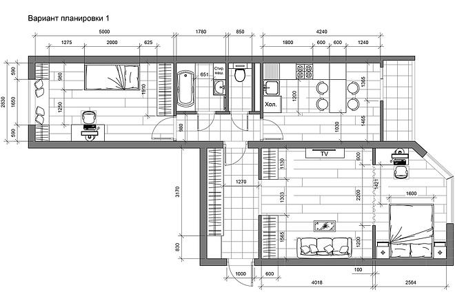 Разработка 3 вариантов планировки квартиры 22 - kwork.ru