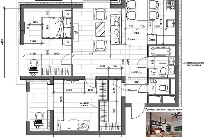 Разработка 3 вариантов планировки квартиры 21 - kwork.ru
