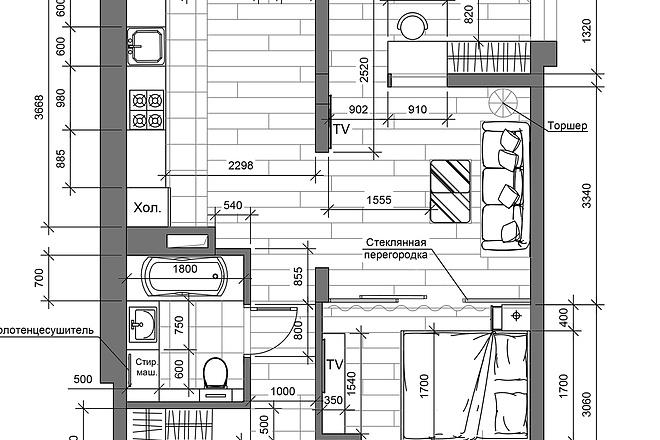 Разработка 3 вариантов планировки квартиры 20 - kwork.ru