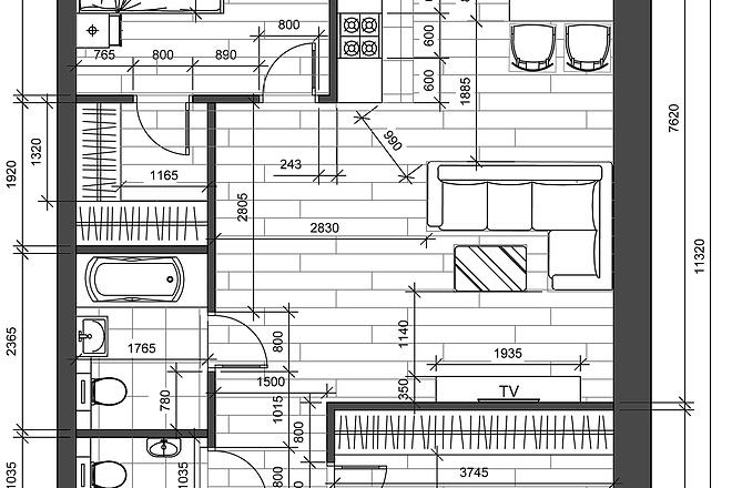 Разработка 3 вариантов планировки квартиры 19 - kwork.ru