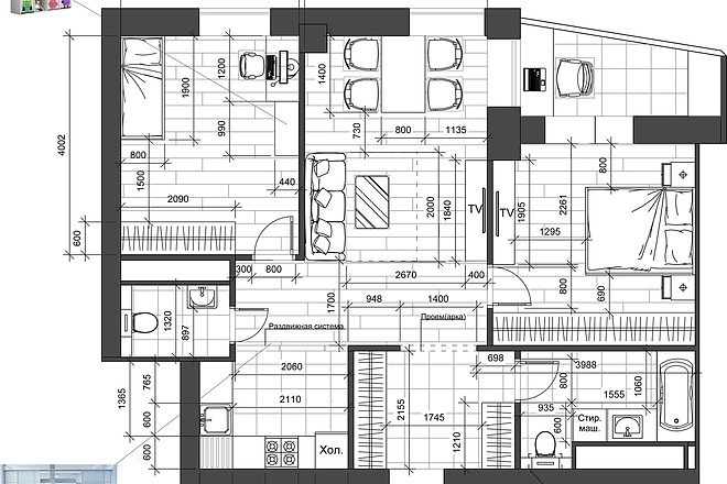 Разработка 3 вариантов планировки квартиры 18 - kwork.ru