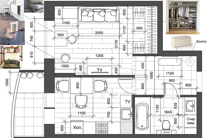 Разработка 3 вариантов планировки квартиры 17 - kwork.ru