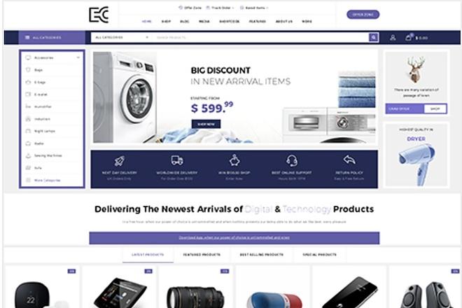 ECode многоцелевая WooCommerce тема интернет-магазина на Wordpress 1 - kwork.ru