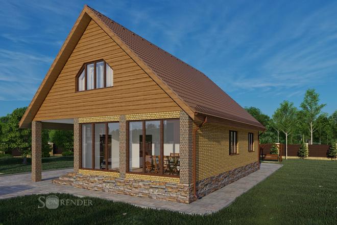 Фотореалистичная 3D визуализация экстерьера Вашего дома 54 - kwork.ru