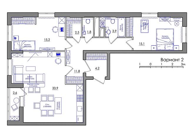 Планировка квартиры или жилого дома, перепланировка и визуализация 18 - kwork.ru