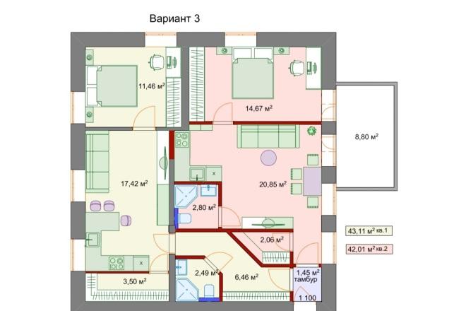 Планировочные решения. Планировка с мебелью и перепланировка 9 - kwork.ru