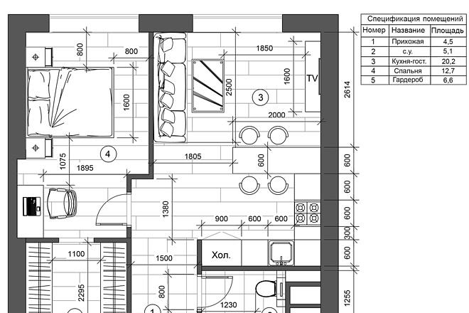 Разработка 3 вариантов планировки квартиры 6 - kwork.ru