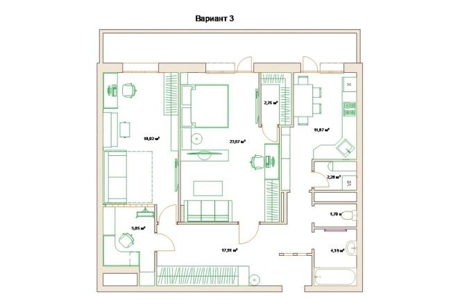 Планировочные решения. Планировка с мебелью и перепланировка 83 - kwork.ru