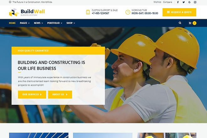 BuildWall - Шаблон сайта строительной компании на WordPress 5 - kwork.ru