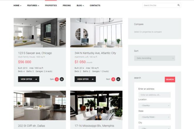 Wordpress сайт недвижимости, аренды квартир, агентства 4 - kwork.ru
