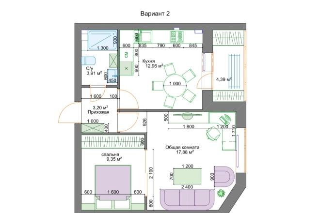Планировочные решения. Планировка с мебелью и перепланировка 25 - kwork.ru