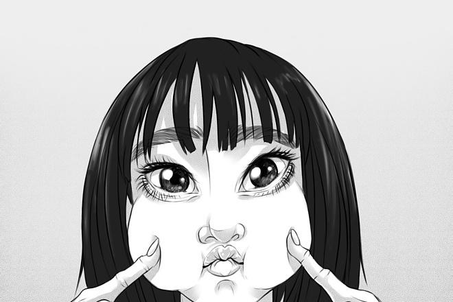 Иллюстрационный портрет по фотографии в стилях Манга или Аниме 11 - kwork.ru