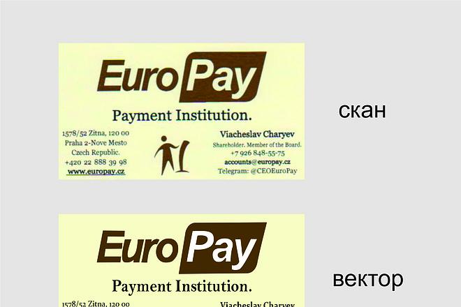 Сделаю макет визитки в векторе на основе фотографии или скана 2 - kwork.ru