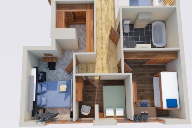 Создам планировку дома, квартиры с мебелью 5 - kwork.ru