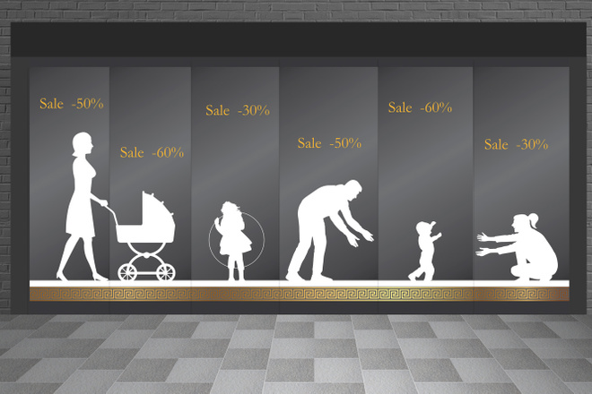 Дизайн рекламной наклейки на стекло, витрину 3 - kwork.ru