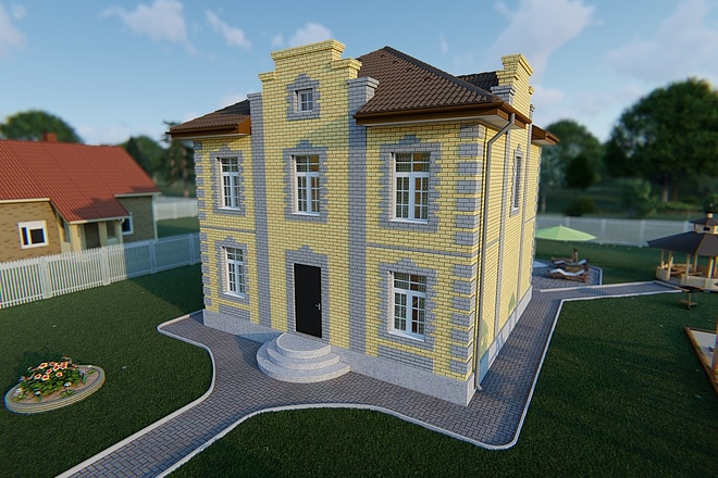 Фотореалистичная 3D визуализация экстерьера Вашего дома 161 - kwork.ru