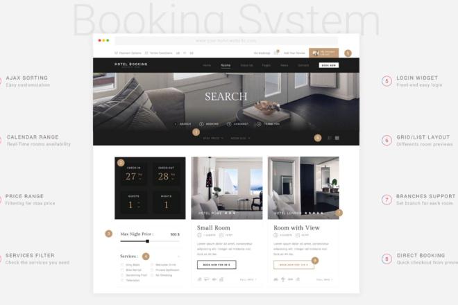 Тема Hotel Booking для WordPress на русском с обновлениями и плагинами 6 - kwork.ru
