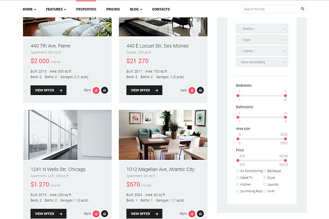 Wordpress сайт недвижимости, аренды квартир, агентства 5 - kwork.ru