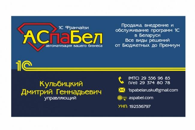 Визитка 90 х 50 мм 21 - kwork.ru