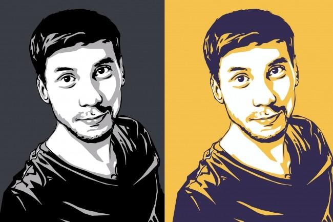 Качественный поп-арт портрет по вашей фотографии 32 - kwork.ru