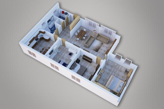 Сделаю 3д визуализацию плана для дома, квартиры 1 - kwork.ru