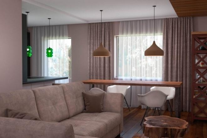 Выполню 3D визуализацию интерьера квартиры, дома, офисного помещения 4 - kwork.ru