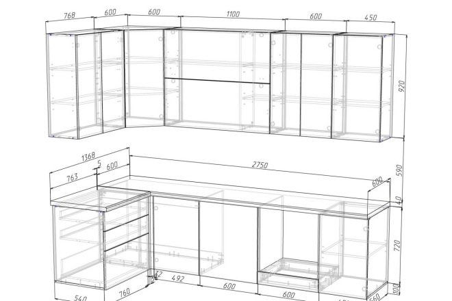 Проект корпусной мебели, кухни. Визуализация мебели 59 - kwork.ru