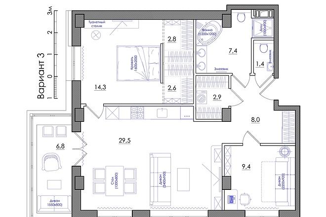 Планировка квартиры или жилого дома, перепланировка и визуализация 19 - kwork.ru