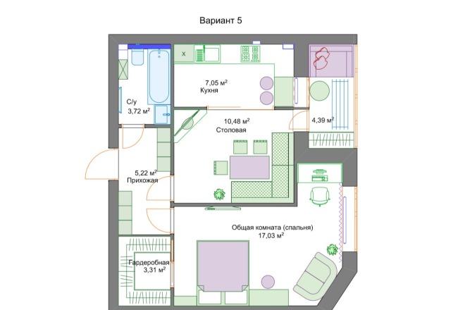 Планировочные решения. Планировка с мебелью и перепланировка 22 - kwork.ru