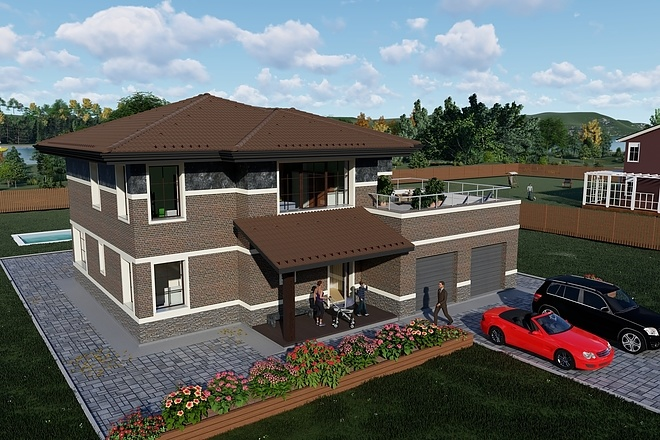 Фотореалистичная 3D визуализация экстерьера Вашего дома 187 - kwork.ru