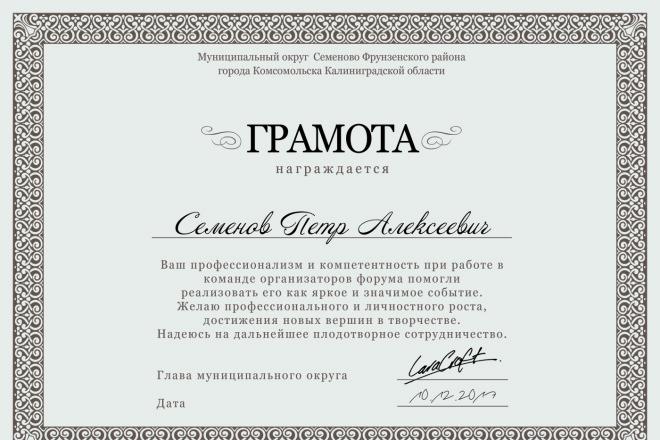 Дизайн Диплома, Сертификата, Благодарности, Грамоты 2 - kwork.ru