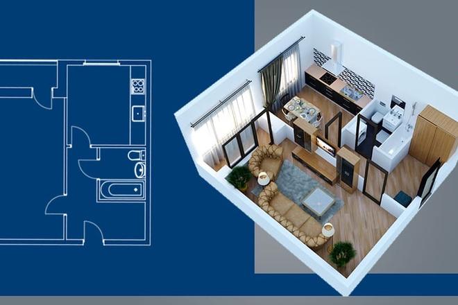 Объемно - планировочная схема, 3D 2 - kwork.ru