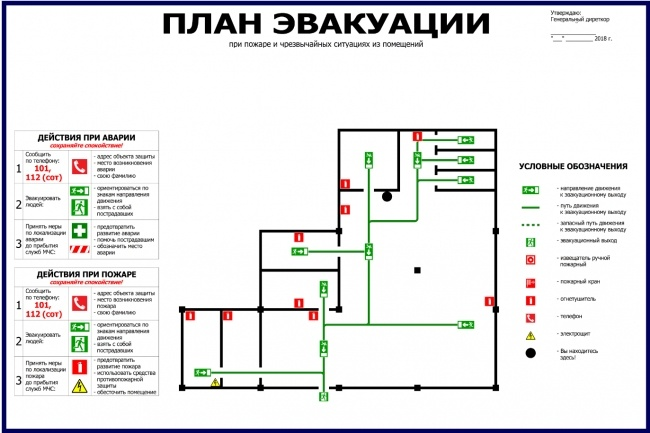 Нарисую эскиз плана эвакуации по ГОСТу 10 - kwork.ru