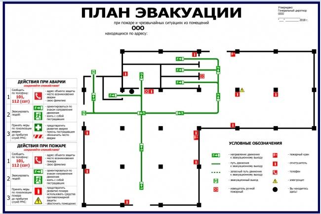 Нарисую эскиз плана эвакуации по ГОСТу 11 - kwork.ru