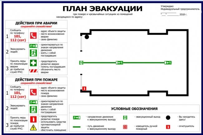 Нарисую эскиз плана эвакуации по ГОСТу 8 - kwork.ru