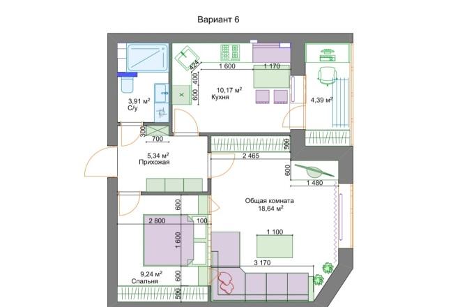 Планировочные решения. Планировка с мебелью и перепланировка 21 - kwork.ru