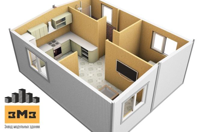 3D Моделирование навеса + визуализация 10 - kwork.ru