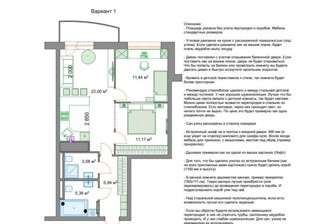 Планировочные решения. Планировка с мебелью и перепланировка 77 - kwork.ru