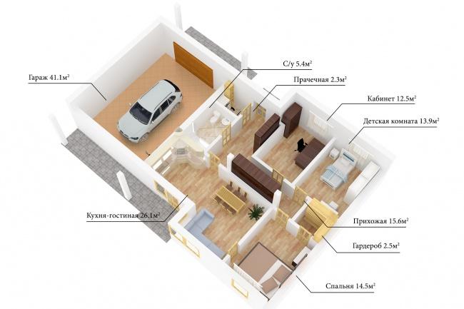 Сделаю 3д визуализацию плана для дома, квартиры 24 - kwork.ru