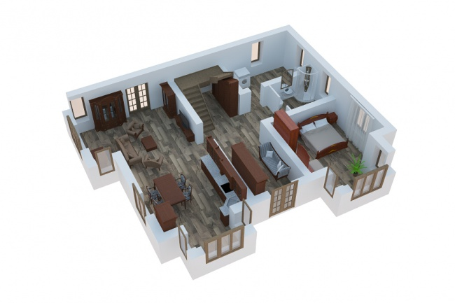 Сделаю 3д визуализацию плана для дома, квартиры 21 - kwork.ru
